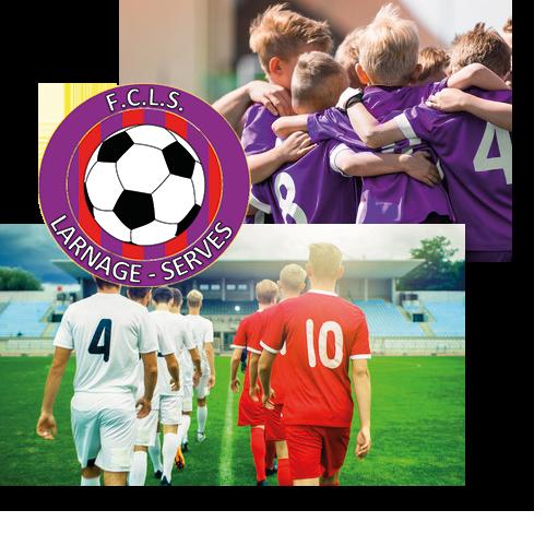 fcls, football club larnage serves, logo, rouge et violet, drome, ardeche